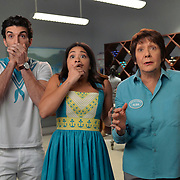 """Jane The Virgin -- """"Chapter Seventy-Four"""" -- Image Number: JAV410b_070.jpg -- Pictured (L-R): Justin Baldoni as Rafael, Gina Rodriguez as Jane and Ivonne Coll as Alba -- Photo: Lisa Rose/The CW -- © 2018 The CW Network, LLC. All Rights Reserved."""