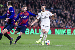 February 6, 2019 - Barcelona, Spain - 17 Lucas Vazquez of Real Madrid defended by 08 Arthur Melo of FC Barcelona during the semi-final first leg of Spanish King Cup / Copa del Rey football match between FC Barcelona and Real Madrid on 04 of February of 2019 at Camp Nou stadium in Barcelona, Spain  (Credit Image: © Xavier Bonilla/NurPhoto via ZUMA Press)