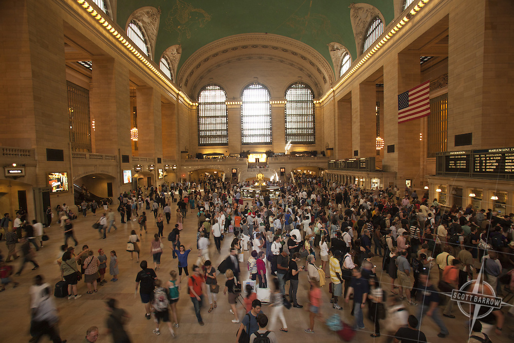 Grand Central Terminal crowds on the 4th of July weekend, NYC.