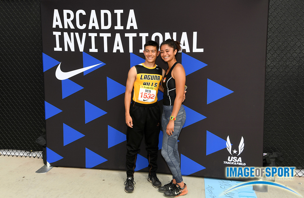 Apr 7, 2018; Arcadia, CA, USA; Anthony Victa (1532) of Laguna Hills and Kaitlyn Menichetti of Mission Viejo  during the 51st Arcadia Invitational at Arcadia High.