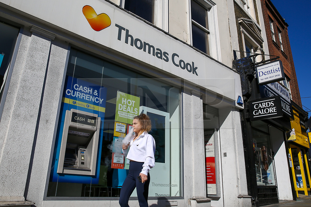© Licensed to London News Pictures. 21/09/2019. London, UK. A branch of Thomas Cook in central London. The travel agent chain Thomas Cook has approached the government in an attempt to fund £200m or it faces the prospect of falling into administration this weekend leaving around 150,000 holiday-makers stranded. Photo credit: Dinendra Haria/LNP