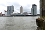 Koningin Maxima doopt het cruiseschip ms Koningsdam van Holland America Line in Rotterdam.<br /> <br /> Queen Maxima at the cruise ship ms Koningsdam Holland America Line in Rotterdanm for namen the ship.<br /> <br /> op de foto / On the photo:  ms Koningsdam