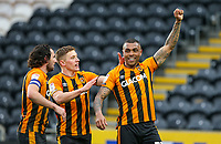 Hull City's Josh Magennis celebrates scoring his side's third goal <br /> <br /> Photographer Alex Dodd/CameraSport<br /> <br /> The EFL Sky Bet League One - Hull City v Wigan Athletic - Saturday 1st May 2021 - KCOM Stadium - Kingston upon Hull<br /> <br /> World Copyright © 2021 CameraSport. All rights reserved. 43 Linden Ave. Countesthorpe. Leicester. England. LE8 5PG - Tel: +44 (0) 116 277 4147 - admin@camerasport.com - www.camerasport.com