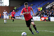 Oldham Athletic's Danny Philliskirkin in action. Skybet football league 1match, Tranmere Rovers v Oldham Athletic at Prenton Park in Birkenhead, England on Saturday 1st March 2014.<br /> pic by Chris Stading, Andrew Orchard sports photography.