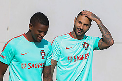 October 9, 2017 - Lisbon, Lisbon, Portugal - Portugals forward Ricardo Quaresma (R) and Nelson Semedo (L) during National Team Training session before the match between Portugal and Switzerland at City Football in Oeiras on October 9, 2017. (Credit Image: © Dpi/NurPhoto via ZUMA Press)