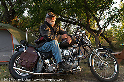 Vietnam veteran Monte Vanderpool at the Buffalo Chip Campground on his '47 knucklehead during the annual Sturgis Black Hills Motorcycle Rally. He rode 900 miles from Idaho to get to Sturgis for the rally. SD, USA.  August 6, 2016.  Photography ©2016 Michael Lichter.