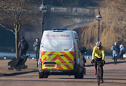 © Licensed to London News Pictures. 07/01/2021. London, UK. Police patrol around Hyde Park in central London, during a third national Lockdown, in which members of the public are only permitted to leave their homes for essential activities or to exercise once a day. Photo credit: Ben Cawthra/LNP