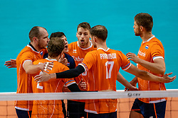 Wouter Ter Maat of Netherlands, Robbert Andringa of Netherlands, Thijs Ter Horst of Netherlands in action during the CEV Eurovolley 2021 Qualifiers between Croatia and Netherlands at Topsporthall Omnisport on May 16, 2021 in Apeldoorn, Netherlands