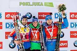 Second placed Martin Fourcade (FRA), winner Simon Schempp (GER) and third placed Anton Shipulin (RUS) celebrate at medal ceremony after the Men 12,5 km Pursuit at day 3 of IBU Biathlon World Cup 2015/16 Pokljuka, on December 19, 2015 in Rudno polje, Pokljuka, Slovenia. Photo by Vid Ponikvar / Sportida