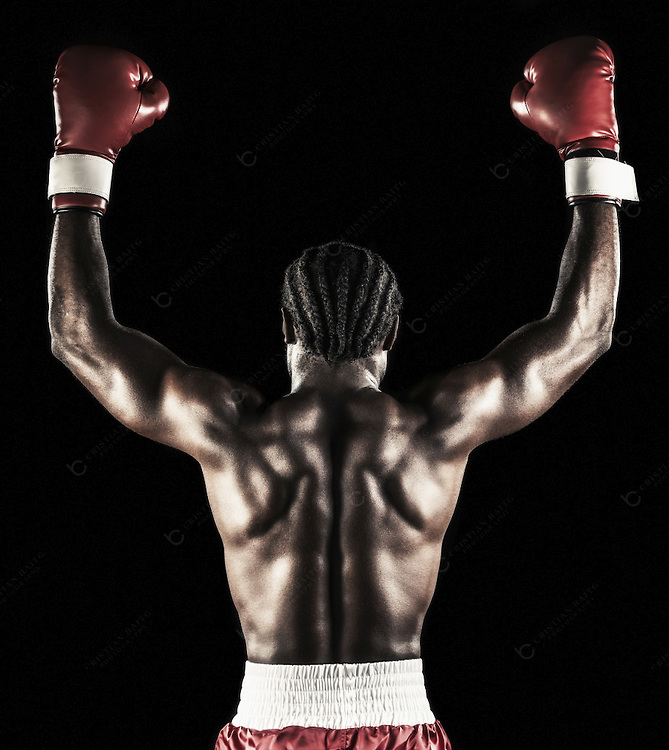 African descent boxer isolated on black background