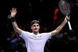 2017?11?14?.    ?????10???——ATP???????????????·????.       11?14??????????.       ???????????ATP???????????????????????????2?1??????????·?????.       ???????????????.(SP) BRITAIN-LONDON-TENNIS-ATP FINALS-FEDERER VS ZVEREV.(171114) -- LONDON, Nov. 14, 2017  Roger Federer of Switzerland celebrates victory after the singles round-robin match against Alexander Zverev of Germany during the Nitto ATP World Tour Finals at O2 Arena in London, Britain on Nov. 14, 2017. Roger Federer Won 2-1. (Credit Image: © Tang Shi/Xinhua via ZUMA Wire)