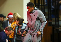 Dec 22, 2018; Morgantown, WV, USA; West Virginia Mountaineers forward Sagaba Konate (50) walks out on crutches before their game against the Jacksonville State Gamecocks at WVU Coliseum. Mandatory Credit: Ben Queen-USA TODAY Sports