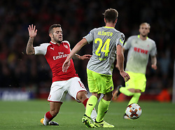 Arsenal's Jack Wilshere (left) and FC Koln's Lukas Klunter during the Europa League match at the Emirates Stadium, London.