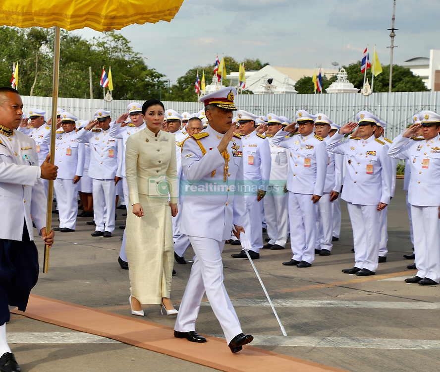 May 2, 2019 - Bangkok, Thailand - Thailand's King Maha Vajiralongkorn Bodindradebayavarangkun (L) and Queen Suthida (R) arrives to pay homage to the statue of former King Chulalongkorn or King Rama V ahead of the royal coronation at the Royal Plaza in Bangkok. (Credit Image: © Pool/SOPA Images via ZUMA Wire)