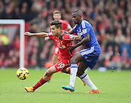 Philippe Coutinho of Liverpool challenged by Ramires of Chelsea  - Barclays Premier League - Liverpool vs Chelsea - Anfield Stadium - Liverpool - England - 8th November 2014  - Picture Simon Bellis/Sportimage