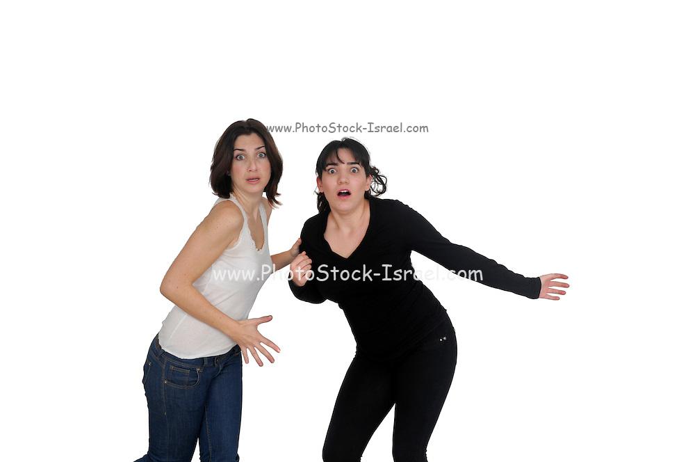 frightened girlfriends On white Background