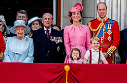 Buckingham Palace has announced Prince Philip, The Duke of Edinburgh, has passed away age 99 - FILE - British Royal Family at Trooping the Colour Queen Elizabeth, The Prince of Wales Charles, The Duchess of Cornwall Camilla, The Duke and Duchess of Cambridge, Prince George, Princess Charlotte, Prince Andrew and Princess Anne attending the annual trooping the color is to honor the Queens official birthday in London, UK on June 17, 2017. Photo by Robin Utrecht/ABACAPRESS.COM