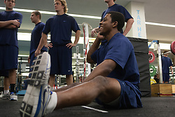 27 November 2007: North Carolina Tar Heels men's lacrosse Milton Lyles during a weight lifting session in Chapel Hill, NC.