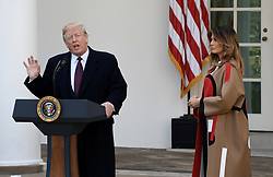 """First lady Melania Trump watches as President Donald Trump speaks before pardoning """"Peas"""" from South Dakota at the National Thanksgiving Turkey pardoning ceremony in the Rose Garden of the White House in Washington, DC on November 20, 2018. Photo by Olivier Douliery/ABACAPRESS.COM"""
