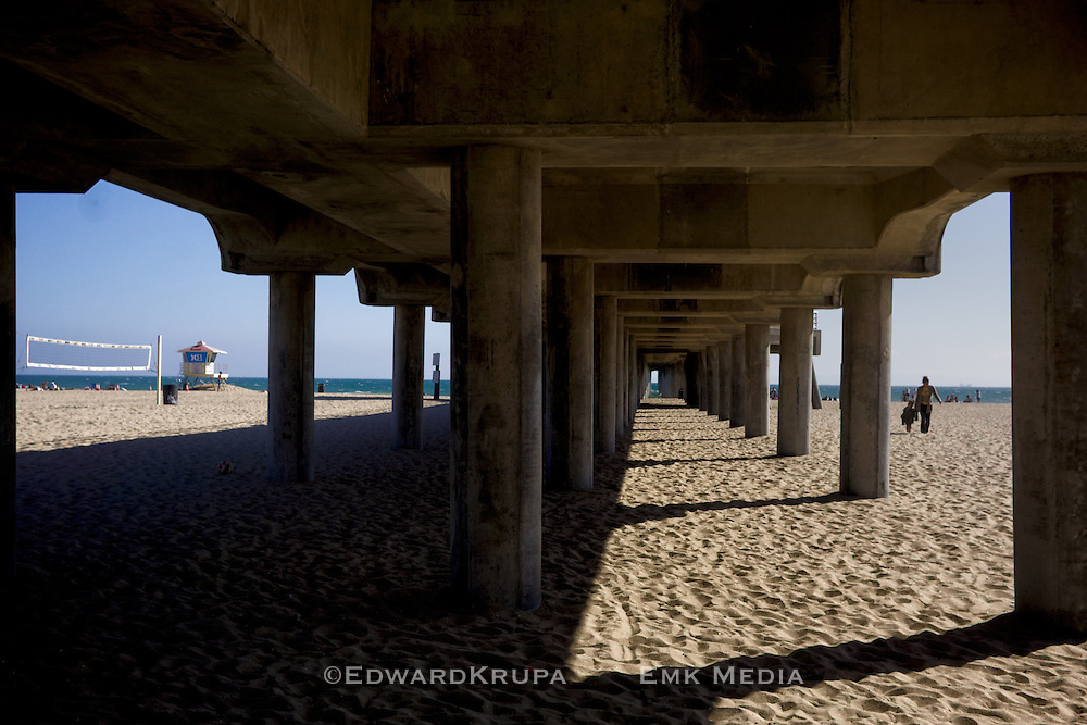 Under structure of Huntington Beach Pier.
