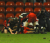 Photo: Dave Linney.<br />Walsall v Lincoln City. Coca Cola League 2. 16/02/2007.<br />Lincoln players celebrate after making it 1-0.