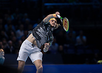 Tennis - 2019 Nitto ATP Finals at The O2 - Day Eight<br /> <br /> Singles Final : Stefanos Tsitsipas (Greece) Vs. Dominic Thiem (Austria)<br /> <br /> Stefanos Tsitsipas (Greece) serving <br /> <br /> COLORSPORT/DANIEL BEARHAM