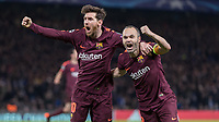 Football - 2017 / 2018 UEFA Champions League - Round of Sixteen, First Leg: Chelsea vs. Barcelona<br /> <br /> Lionel Messi (Barcelona) and Andres Iniesta (Barcelona) celebrate after he scores the equaliser at Stamford Bridge.<br /> <br /> COLORSPORT/DANIEL BEARHAM