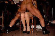Male stripper lapdancing at a girls birthday party, 8th March 2014, Lagrasse, France.