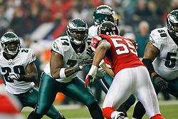 Philadelphia Eagles offensive tackle Winston Justice #74 during the NFL game between the Philadelphia Eagles and the Atlanta Falcons on December 6th 2009. The Eagles won 34-7 at The Georgia Dome in Atlanta, Georgia. (Photo By Brian Garfinkel)