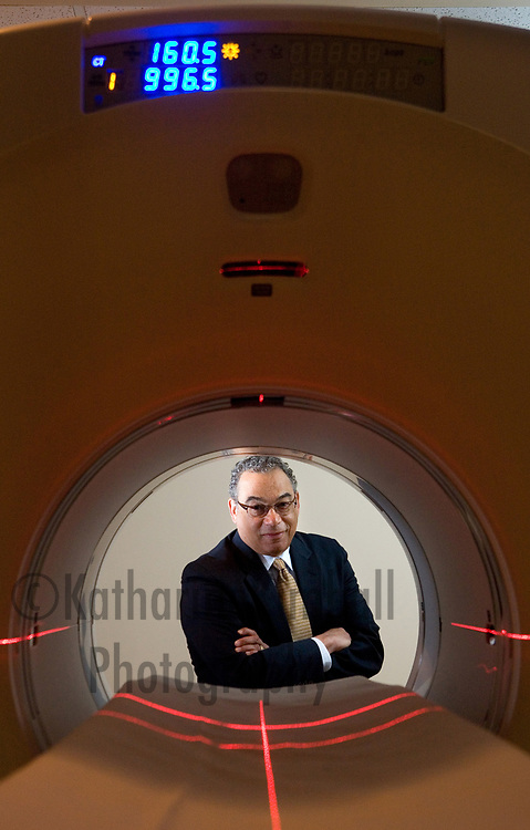 Dr. George J. Brown, Chief Executive Officer of Legacy Health System, with a new PET CT scanning machine at Legacy Good Samaritan Hospital.