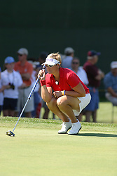 04 Sep 2005<br /> <br /> Maria Hjorth lines up a putt on the 9th green.<br /> <br /> LPGA State Farm Classic.  The Rail Golf Course, Springfield (Sherman) Illinois