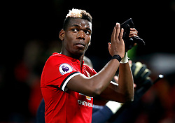 """Manchester United's Paul Pogba during the Premier League match at Old Trafford, Manchester. PRESS ASSOCIATION Photo. Picture date: Saturday December 30, 2017. See PA story SOCCER Man Utd. Photo credit should read: Martin Rickett/PA Wire. RESTRICTIONS: EDITORIAL USE ONLY No use with unauthorised audio, video, data, fixture lists, club/league logos or """"live"""" services. Online in-match use limited to 75 images, no video emulation. No use in betting, games or single club/league/player publications."""