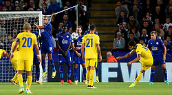Alex Telles of FC Porto takes a free kick - Mandatory by-line: Matt McNulty/JMP - 27/09/2016 - FOOTBALL - King Power Stadium - Leicester, England - Leicester City v FC Porto - UEFA Champions League