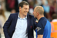Slaven Bilic, West Ham United manager (l)  talking to John Coleman, the Accrington Stanley manager before k/o. EFL Cup, 3rd round match, West Ham Utd v Accrington Stanley at the London Stadium, Queen Elizabeth Olympic Park in London on Wednesday 21st September 2016.<br /> pic by John Patrick Fletcher, Andrew Orchard sports photography.