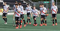 AMSTELVEEN - team van Amsterdam     tijdens   hoofdklasse hockeywedstrijd mannen,  AMSTERDAM-PINOKE (1-3) , die vanwege het heersende coronavirus zonder toeschouwers werd gespeeld. COPYRIGHT KOEN SUYK