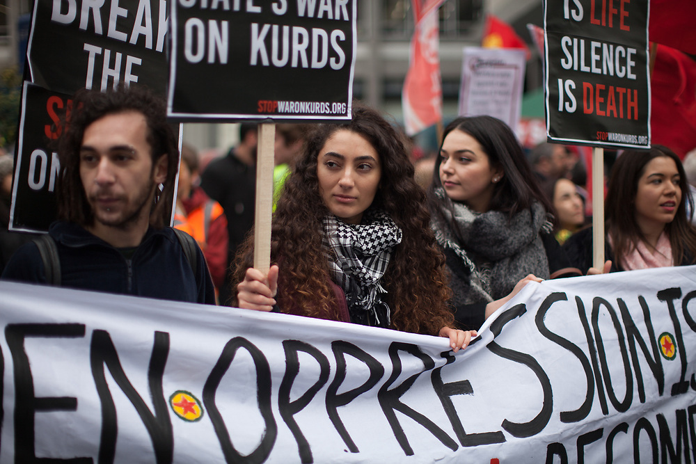 March in London to stop the war against the Kurds in Turkey and Syria. The slogans for the march were Break The Silence and Stop The War Against Kurds.