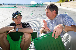 Robert Kranjec and Jelko Gros at media day of Slovenian Ski jumping team during construction of two new ski jumping hills HS 135 and HS 105, on September 18, 2012 in Planica, Slovenia. (Photo By Vid Ponikvar / Sportida)