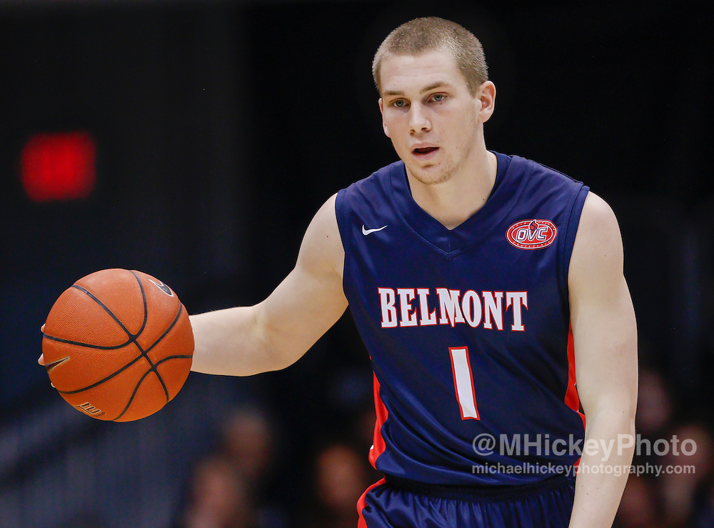 INDIANAPOLIS, IN - DECEMBER 28: Austin Luke #1 of the Belmont Bruins brings the ball up court during the game against the Butler Bulldogs at Hinkle Fieldhouse on December 28, 2014 in Indianapolis, Indiana. (Photo by Michael Hickey/Getty Images) *** Local Caption *** Austin Luke