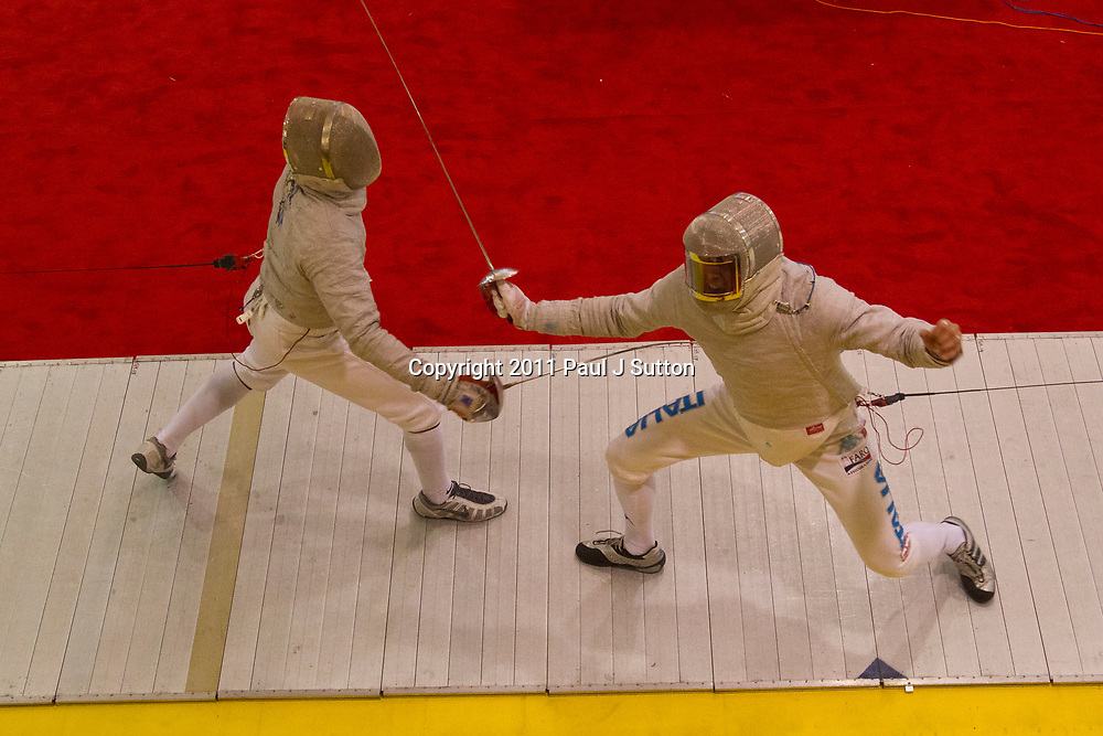 Daryl Homer (USA) competing against  Aldo Montano (ITA) at the 2011 New York Saber World Cup.