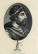 """Aristides (530–468 BC) was an ancient Athenian statesman. Nicknamed """"the Just"""", he flourished in the early quarter of Athens' Classical period and is remembered for his generalship in the Persian War. The ancient historian Herodotus cited him as """"the best and most honourable man in Athens"""", and he received similarly reverent treatment in Plato's Socratic dialogues. Copperplate engraving From the Encyclopaedia Londinensis or, Universal dictionary of arts, sciences, and literature; Volume VIII;  Edited by Wilkes, John. Published in London in 1810."""