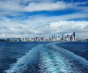 View of downtown Seattle, Washington across Elliot Bay from the Bainbridge Island ferry.