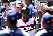 CHICAGO - JUNE 02:  Tim Anderson #7 of the Chicago White Sox celebrates with teammates after hitting a home run against the Cleveland Indians on June 2, 2019 at Guaranteed Rate Field in Chicago, Illinois.  (Photo by Ron Vesely)  Subject:  Tim Anderson