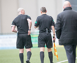 Ref Scott Millar talks to his lineman before showing Forfar Athletic's keeper Grant Adam a red card. Clyde 2 v 2 Forfar Athletic, Scottish League Two game played 4/3/2017 at Clyde's home ground, Broadwood Stadium, Cumbernauld.