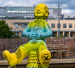 Pictured: Oor Wullie Bucket Art Trail. Leith, Edinburgh, Scotland, United Kingdom, 17 June 2019. An art trail of 200 Oor Wullie sculptures have appeared in Scottish cities overnight in a mass arts event that lasts until August 30th. The sculptures will be auctioned to raise money for Scotland's children's hospital charities. There are 5 in the Leith area, and 60 in Edinburgh altogether. Sailoor Wullie by The Leith Agency at Commercial Quay near the Scottish Government building, Victoria Quay.<br /> Sally Anderson   EdinburghElitemedia.co.uk