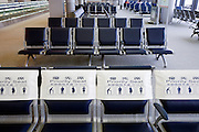 priority seats row at waiting area in Narita airport in Tokyo