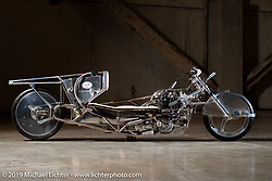 This custom 1950 Ironhead Triumph with all handmade bodywork built by Alp Sungurtekin was the first vintage bike to reach 200mph. Originally rated at 33 bh in 1953, this bike running on 98% nitro methane is rated at 175+ hp. At the Handbuilt Show. Austin, TX. USA. Thursday April 19, 2018. Photography ©2018 Michael Lichter.
