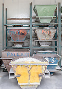"""Italy, Veneto, Canton, glassblowing factory """"Vetrofond"""" producing lamps for Foscarini, minerals to make colors"""