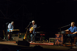 July 2, 2018 - Rome, Italy, Italy - The legendary rock musician has performed, the only Italian date, at the Casa del Jazz in Rome on 2/7/2018 in the musical review 'I Concerti nel Parco'. Nash first with the Hollies then with Crosby, Stills and Young has collected many hits with songs passed to history. With him on stage Shane Fontaine on guitar and Todd Caldwell on keyboards. Shane Fontaine (L), Graham Nash and Todd Caldwell (D) (Credit Image: © Leo Claudio De Petris/Pacific Press via ZUMA Wire)
