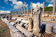 Ruins of the Roman Columned street which was lined with shops & stores.  Perge (Perga) archaeological site, Turkey .<br /> <br /> If you prefer to buy from our ALAMY PHOTO LIBRARY  Collection visit : https://www.alamy.com/portfolio/paul-williams-funkystock/perge-archaeological-site-turkey.html<br /> <br /> Visit our CLASSICAL WORLD HISTORIC SITES PHOTO COLLECTIONS for more photos to download or buy as wall art prints https://funkystock.photoshelter.com/gallery-collection/Classical-Era-Historic-Sites-Archaeological-Sites-Pictures-Images/C0000g4bSGiDL9rw