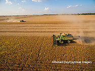 63801-08919 Soybean Harvest, 2 John Deere combines harvesting soybeans - aerial - Marion Co. IL